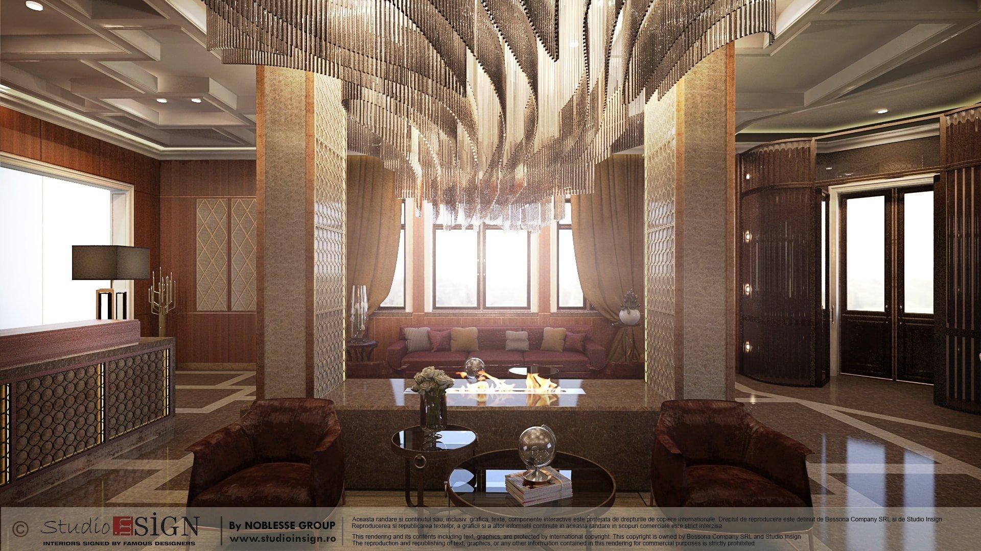 Lobby lounge hotel brasov classic interior design for Classic hotel design