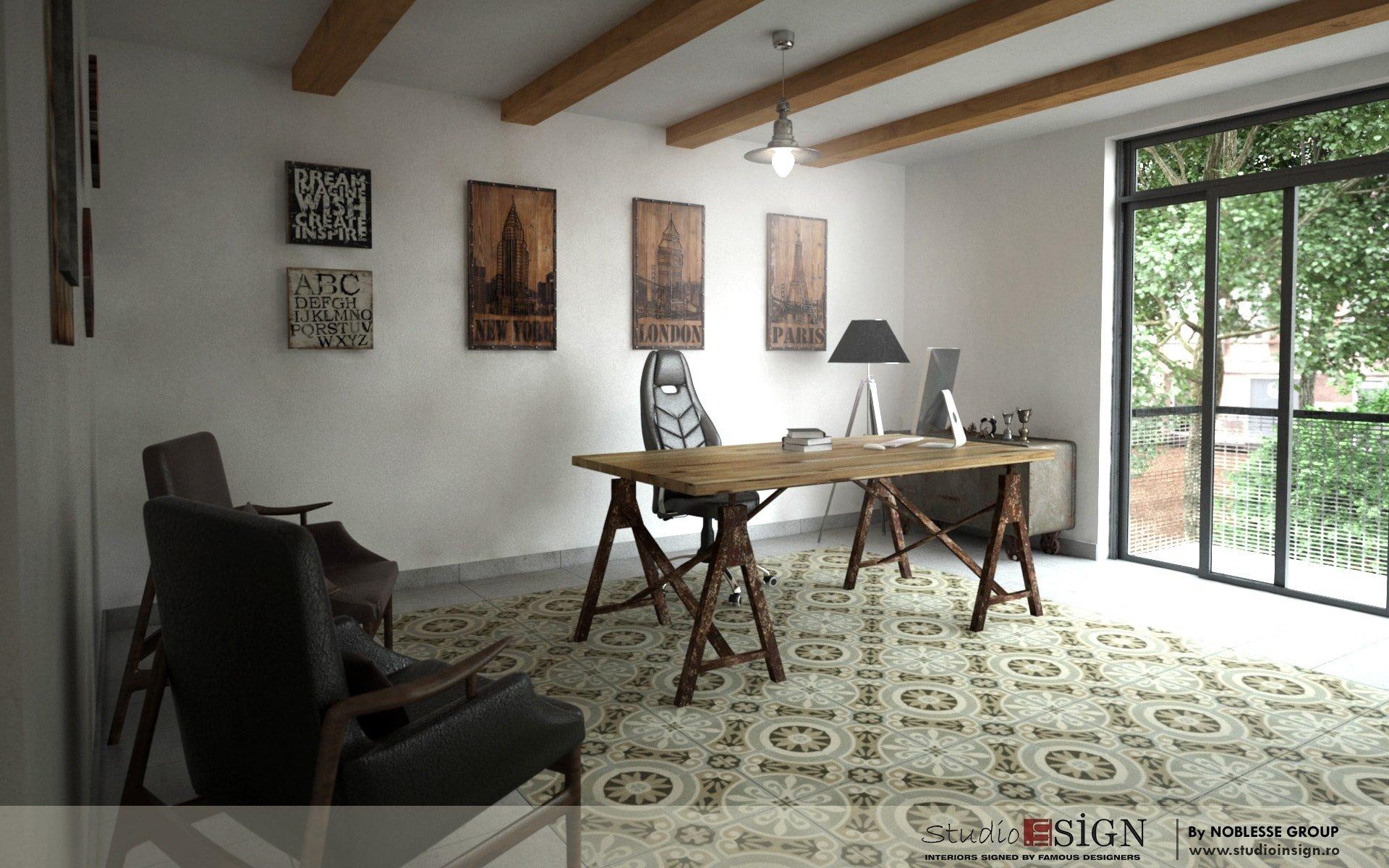 birouri white impex craiova design interior in stil vintage industrial. Black Bedroom Furniture Sets. Home Design Ideas