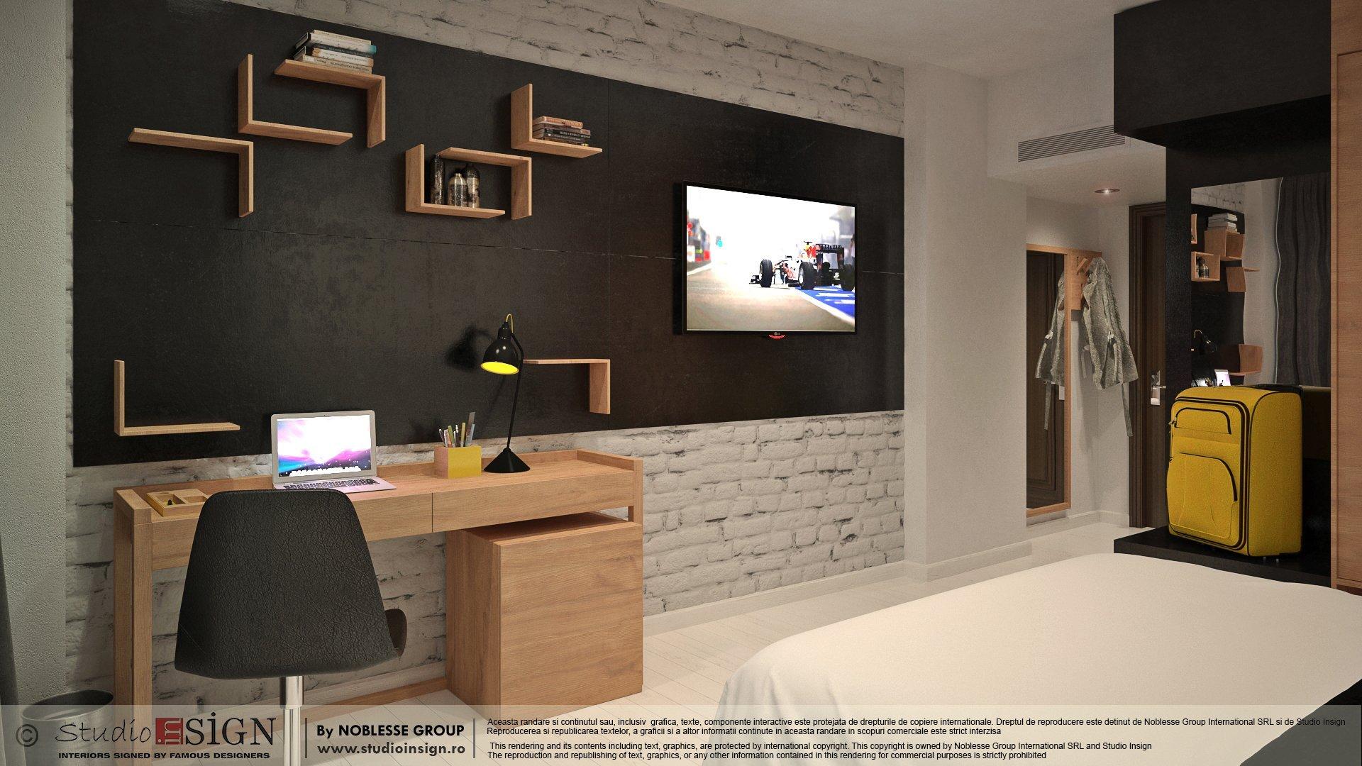 Proiect amenajare camera hotel in stil loft industrial newyorkez-seara-1