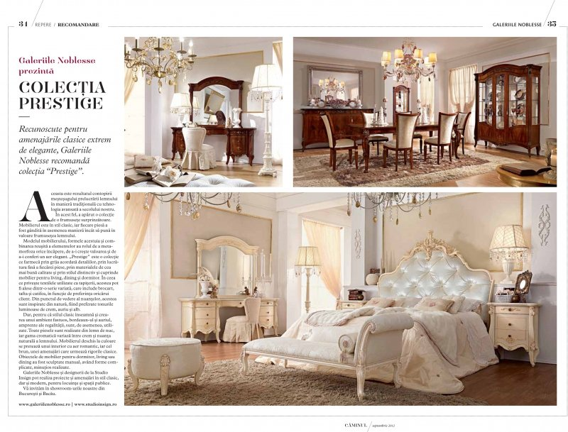 Galeriile Noblesse prezinta Colectia Prestige in amenajarile interioare clasice
