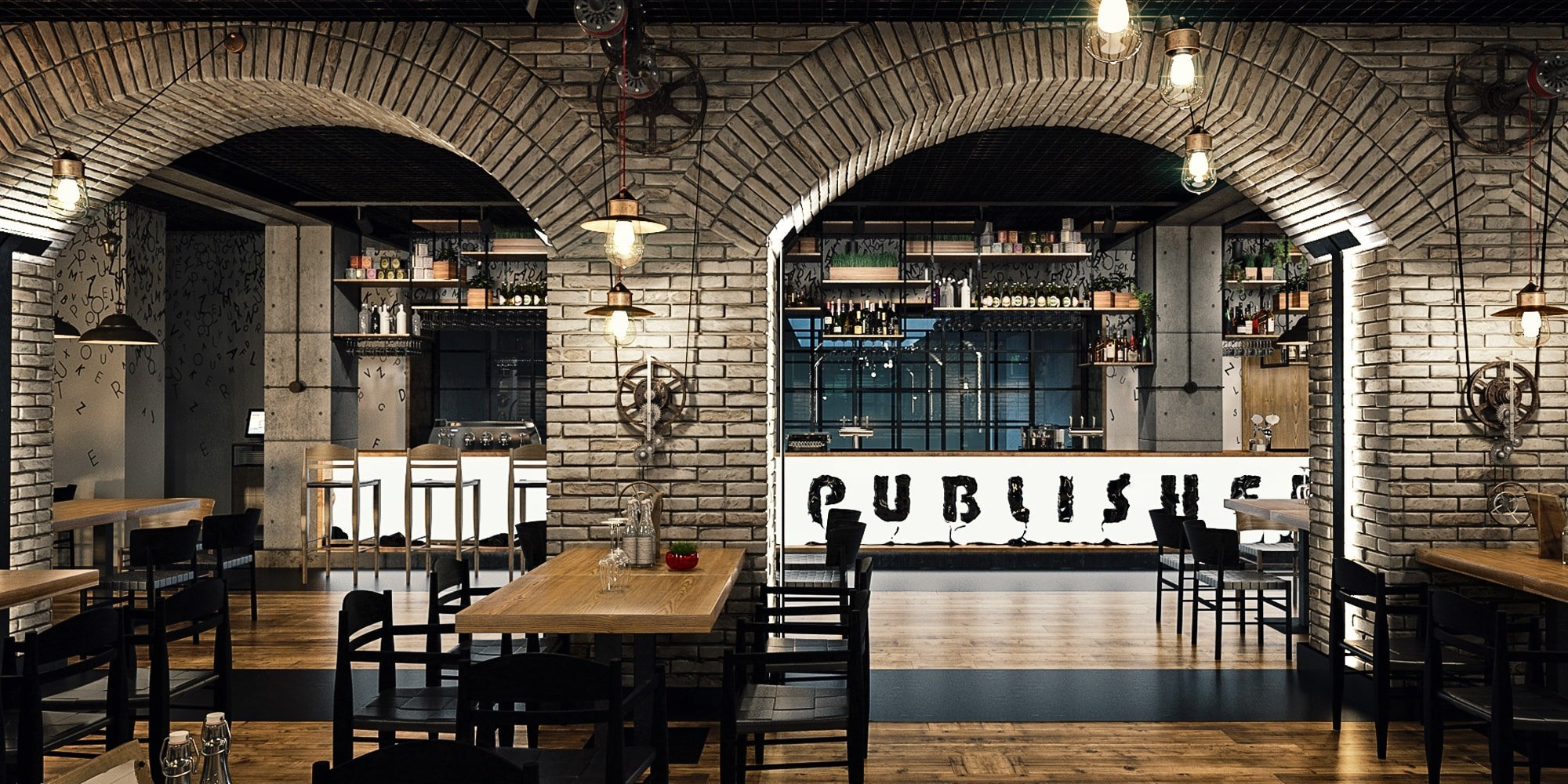 The publisher restaurant industrial design style